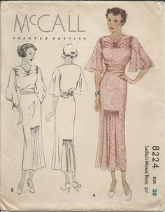 Vintage McCalls 1930's Ladies Dress Gown Sewing Pattern Size Bust 38 Adorable
