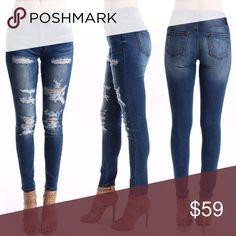 Kan Can Distressed Skinny Jeans These jeans are literally perfect! The distressed look is all the rave right now, and these Kan Can jeans have a perfect fit! Note: Size 3 is a 25, 5 is a 26, 7 is a 27, 9 is a 28, 11 is a 29, 13 is a 30, and 15 is a 31 Kan Can Pants Skinny