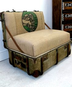 Up-cycled Trunk Chair Old steamer trunk turned into unique chair upholstered with Vintage Grain Sacks