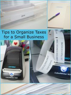 Easy tips for your small business to stay organized for tax season. Use folders and labels to keep track of invoices, receipts, signed documents, travel info.