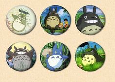 6 Totoro Pinback Buttons