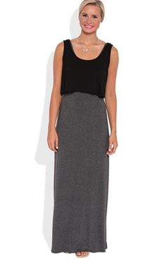 Deb Shops #Contrast #Maxi Dress with Ruffle Bodice $30.00