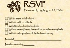"""funny wedding invitations RSVP Hahahaha!  Chris, I wonder how many people are aware of the """"bell reference""""!   this would be awesome!!"""