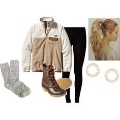 my winter essentials bean boots, patagonia pullover, j. crew socks