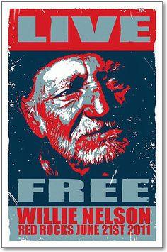 Willie Nelson Poster Original 11x17 NEW 2011 Red Rocks Concert Handbill