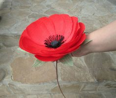Handmade crepe paper poppy . Perfect for wedding decorations, bouquets, vase arrangements or gifts.  This listing is for 1 large poppy with