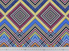 Viskosejersey Ethnolook Zickzack, blau/bunt Bunt, Quilts, Blanket, Shop, Home Decor, Decoration Home, Room Decor, Quilt Sets, Blankets
