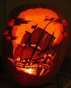 pumpkin carving pirate ship