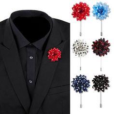 2pcs Mens Costume Col Revers Fleur Tissu Rose Fleur Boutonnière Pins Badge