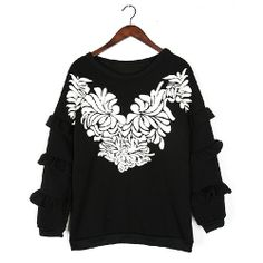 [grxjy560663]Fashion Crewneck Mixed Colors Laciness Thicken Flowers Print Sweatshirt