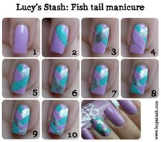 """""""Fish Tail Manicure"""" - nail art even I may be able to do (if I can grow my nails out long enough). Doesn't require tape, glitter, fancy brushes, or anything other than three colors of nail polish. Get Nails, Love Nails, How To Do Nails, Pretty Nails, Hair And Nails, Mermaid Nail Art, Manicure Y Pedicure, Nails Tumblr, Simple Nails"""