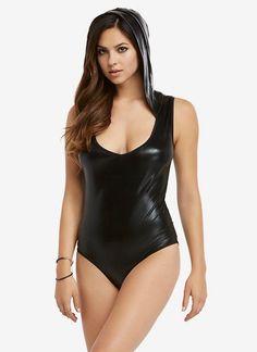 nice Wet Look Hooded Bodysuit