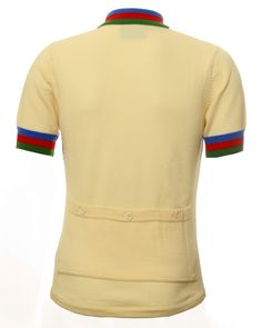 Ecru striped retro 100% merino wool jersey from Jura Cycle Clothing with three rear button storage pockets, perfect for Spring time cycling