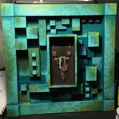 All Squared Away. My mixed media jewelry piece for Wall Ball 2017 - Artscopestl #wallball2017 #alnbcollections #artjewelry #artshow #artscope #copperjewelry #brassjewelry #silverjewelry #mixedmedia #artinjewelry #majorette