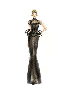 """Jean Paul Gaultier- Haute couture Paris, f/w 2012-2013. """"Cage"""" illustration by Laura Tessaris."""