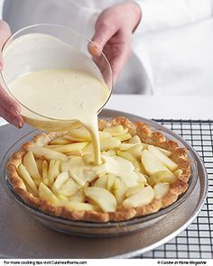 Apple-Custard Pie Pie season is coming! Master our Perfect Pastry Dough, then use it to make elegant French Apple-Custard Pie.Pie season is coming! Master our Perfect Pastry Dough, then use it to make elegant French Apple-Custard Pie. Apple Recipes, Sweet Recipes, Baking Recipes, Apple Desserts, Apple Tart Recipe, Gourmet Desserts, French Recipes, Passover Desserts, French Desserts