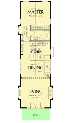 house flooring A Winner in Any Neighborhood - floor plan - Floor Shed House Plans, Narrow Lot House Plans, 2 Bedroom House Plans, Small House Floor Plans, Cabin Floor Plans, Tyni House, Tiny House Cabin, Tiny House Design, Cottage House