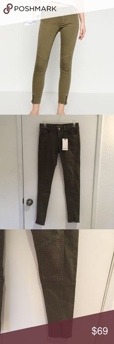 "Zara Mid Rise Biker Jeans Brand new biker skinny  jeans. 30"" inseam. Zipper on the bottom. Olive green color. Zara Jeans Skinny"