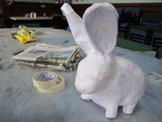 paper mache bunny! by charclam, via Flickr