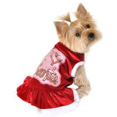 Simply Dog I Heart Santa Dog Dress, Red, (Multiple Sizes Available)