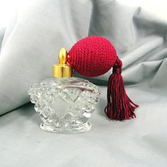 Red Atomizer Perfume Bottle Carved Glass by SunburyVintageStore