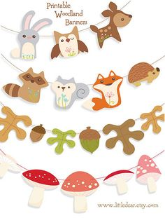 Cute idea for a Woodland Theme Birthday party, Baby Shower, etc.   Printable woodland garlands - little dear tracks