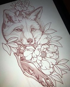 // Bat Country Club – Foxes – - New Sites Owl Tattoo Drawings, Tattoo Sketches, Animal Drawings, Art Sketches, Art Drawings, Hase Tattoos, Kunst Tattoos, Dog Tattoos, Body Art Tattoos