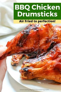 This air fryer BBQ chicken recipe tastes just like it was grilled. It's completely keto and contains absolutely no breading. Talk about an air fryer BBQ! #airfryer #airfrryerrecipe #airfried #chickenrecipe Bbq Fried Chicken, Fried Chicken Drumsticks, Air Fryer Dinner Recipes, Easy Dinner Recipes, Delicious Recipes, Dinner Ideas, Low Carb Chicken Recipes, Pork Recipes, Sauce Recipes