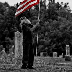 Veteran with an American flag