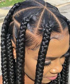 Box Braids Hairstyles For Black Women, Braids Hairstyles Pictures, Cool Braid Hairstyles, Baddie Hairstyles, Braids For Black Hair, 4 Braids Hairstyle, Curly Hair Styles, Natural Hair Styles, Box Braids Styling