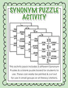 Synonym Puzzle Activity - Ideal for literacy stations or any small group work!