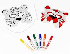 Color and Inflate Tiger Face Mask, Fun Kids Craft Kit, Pack of 3, Markers inc. ** Read more reviews of the product by visiting the link on the image.