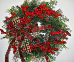 Country Christmas Door Wreath - Christmas Berries and Evergreens - Cardinal Bird