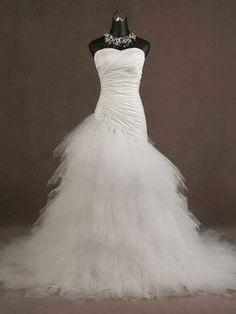 Sweetheart Ruched Bodice Asymmetrical Dropped Waist Ballgown Wedding Dress