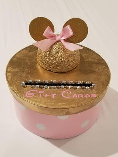 Minnie Mouse gold and pink gift card container box Minie Mouse Party, Minnie Mouse Gifts, Minnie Mouse Party Decorations, Minnie Mouse First Birthday, Minnie Mouse Theme, Minnie Mouse Baby Shower, Girl 2nd Birthday, Pink Minnie, Golden Birthday