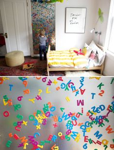 25 Cute DIY Wall Art Ideas for Kids Room    What a fantastic way to keep all those magnetic letters in one usable place