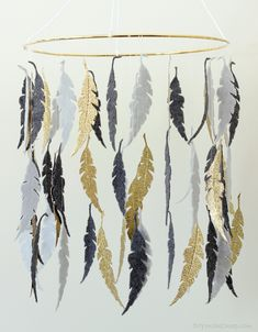 Gray and Gold Feather DIY Crib Mobile