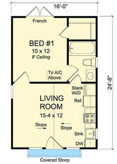 Compact Tiny Cottage Floor Master Suite Bungalow CAD Available Cottage PDF Tiny House Architectural Designs Simple Floor Plans, Cabin Floor Plans, Small House Plans, Tiny Home Floor Plans, Tiny Cabin Plans, Pool House Plans, The Plan, How To Plan, Tyni House
