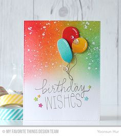 RejoicingCrafts: MFT July Die-namics Design - Rise to the Occasion. MFT Birthday Wishes & Balloons Stamp & Dies. #mftstamps