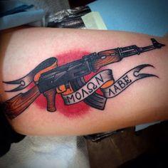 Tattoos For Women Small, Small Tattoos, Tattoos For Guys, Cool Tattoos, Ak 47, Ak47 Tattoo, Revolver Tattoo, Hop Tattoo, Punk Tattoo