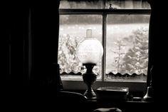 Oil Lamp, Lamp, Light, Window, Black and White