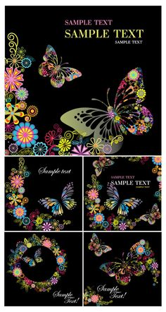 Butterflies cards vector. Set of 5 vector cards with butterflies and floral design elements on the background (decorative ornate colorful flowers). Format: EPS stock vector clip art. Free for download. Theme: vector butterflies, butterfly backgrounds, cards.