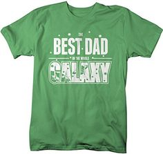 Shirts By Sarah Men's Funny Best Dad In Galaxy Shirt Father's Day Tees Space