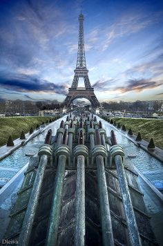 Eiffel Tower viewed from the Trocadero, Paris, France .....pinned by  Maurie Daboux