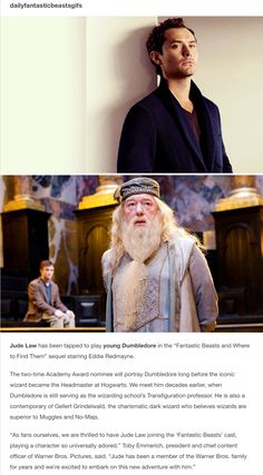 "Jude Law play young Dumbledore in the ""Fantastic Beasts and Where to Find Them"" sequel starring Eddie Redmayne."