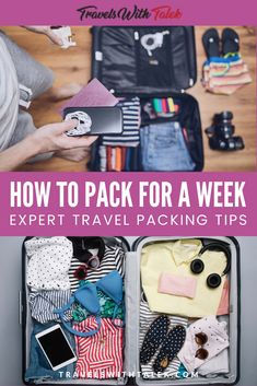 Packing for travel is an art. Here are my expert tips for how to pack for a week or more. In this guide, I share all of my best advice for packing a carry-on suitcase for a long trip so you can avoid having to lug around a huge suitcase and having to chec Smart Packing, Carry On Packing, Packing Tips For Vacation, Suitcase Packing, Travel Packing, Travel Bags, Travel Backpack, Travel Ideas, Travelling Tips