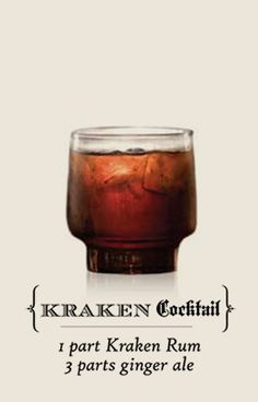 The Kraken™ Black Spiced Rum - Recipe: Kraken Cocktail Easy Cocktails, Cocktail Drinks, Fun Drinks, Yummy Drinks, Cocktail Recipes, Alcoholic Drinks, Beverages, Kraken Rum, Rum Recipes