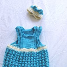 knitted baby hat + dress - free pattern
