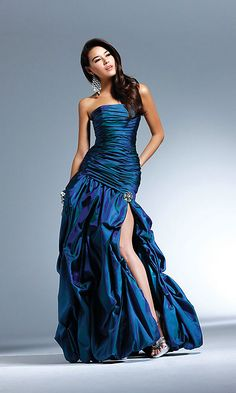 Dark Blue Mermaid Strapless Full Length Evening Dress With Beading and Ruches and High Slit