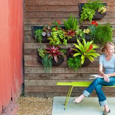 Woolly pocket wall garden - Cool Container Gardens - Sunset.  Try a modern take on traditional hanging baskets with a wall of these Woolly Pockets. Since they're lined with moisture barriers, you don't have to worry about any leaking.